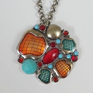 Jewelry - Retro Faux Topaz Pendant With Silver Chain